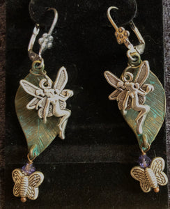 Faeries and Butterflies on Green Leaves Leverback Earrings