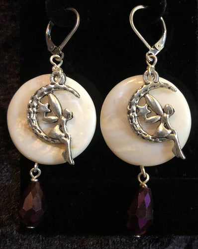 Faerie in Moon on Paua Shell Earrings