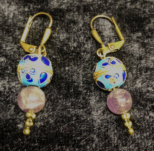Antique Cloisonne and Amethyst Drop Earrings