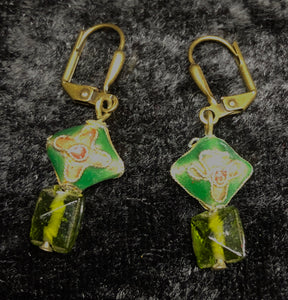 Green Antique Cloisonne Drop Earrings