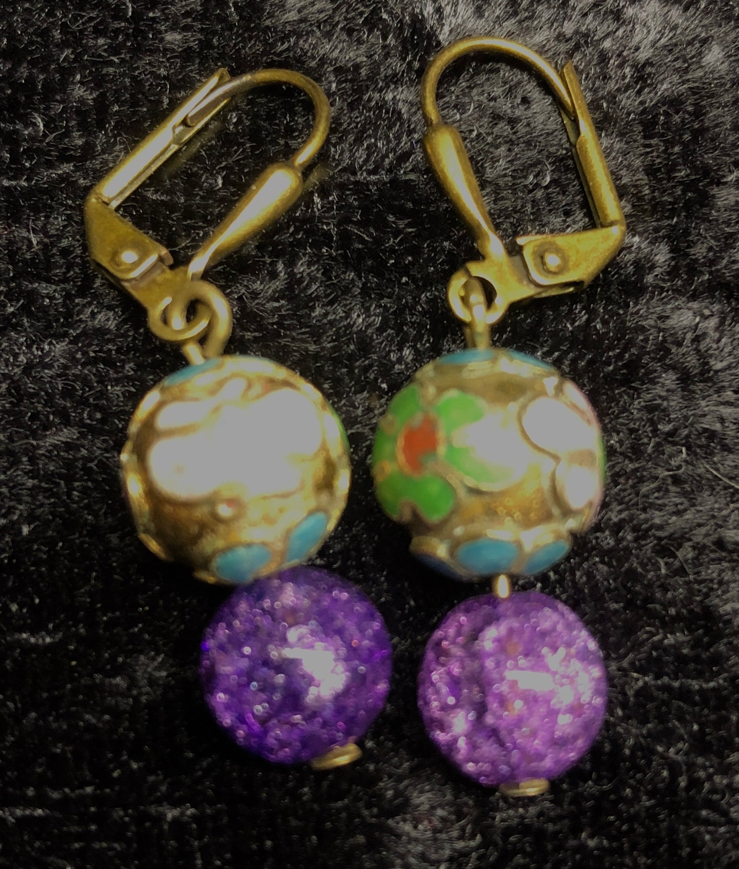 Antique Cloisonne and Crackle Glass Drop Earrings