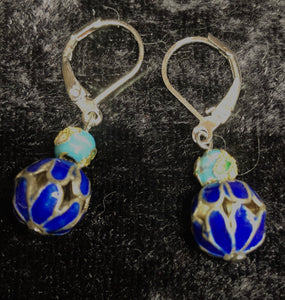 Tiny Antique Cloisonne Drop Earrings