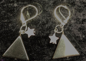 Hematite Triangle Drop Earrings