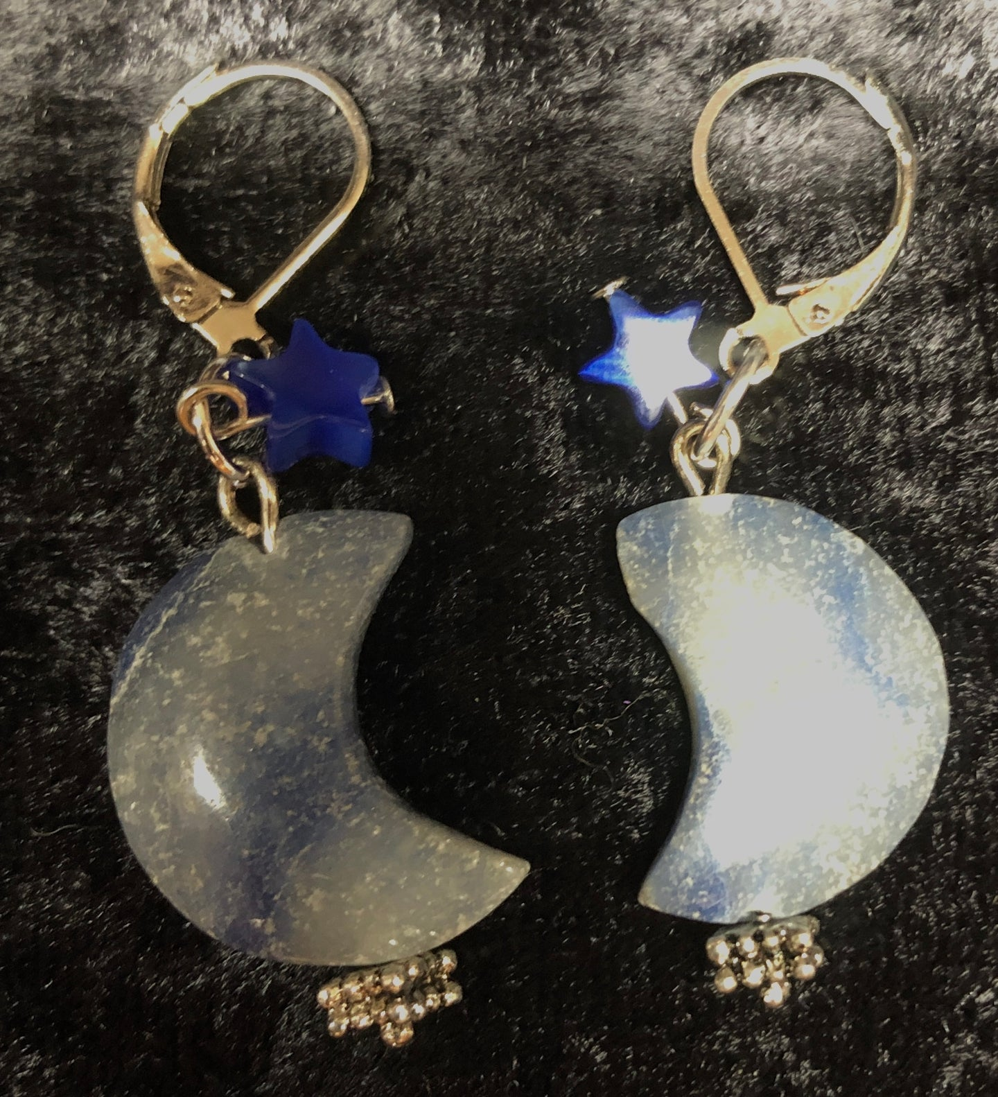 Aventurine Moons and Glass Stars Drop Earrings