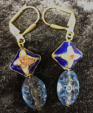 Load image into Gallery viewer, Blue Antique Cloisonne Drop Earrings