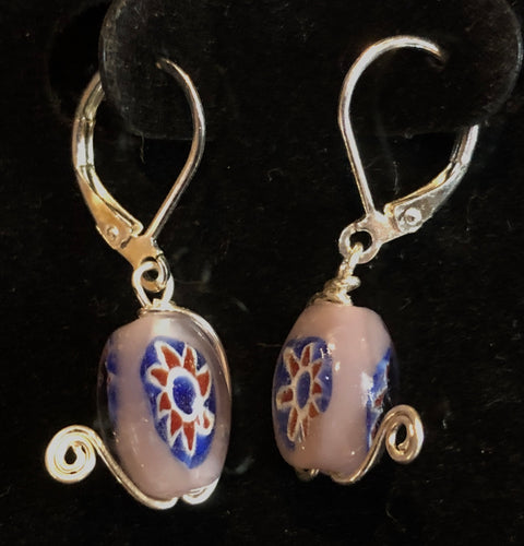 Purple Flower Beads with Silver Swirl Earrings