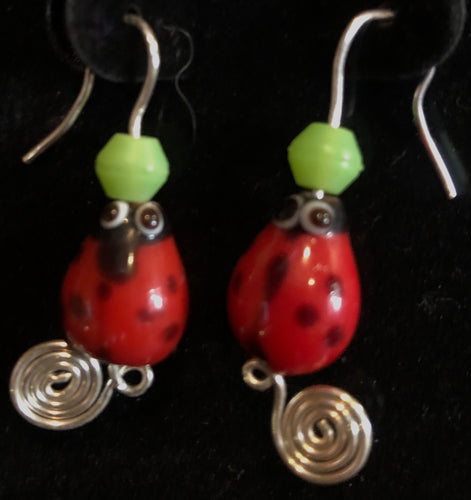 Glass Ladybugs French Hook Earrings