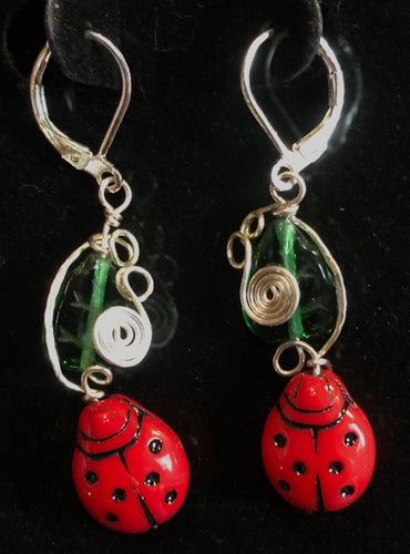 Glass Ladybugs in the Garden Earrings