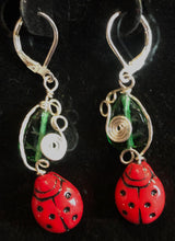 Load image into Gallery viewer, Glass Ladybugs in the Garden Earrings