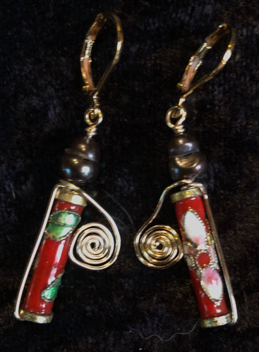 Vermeil with Antique Cloisonne and Pearls Leverback Earrings