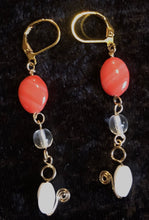 Load image into Gallery viewer, Vermeil with Peach and White Glass Leverback Earrings