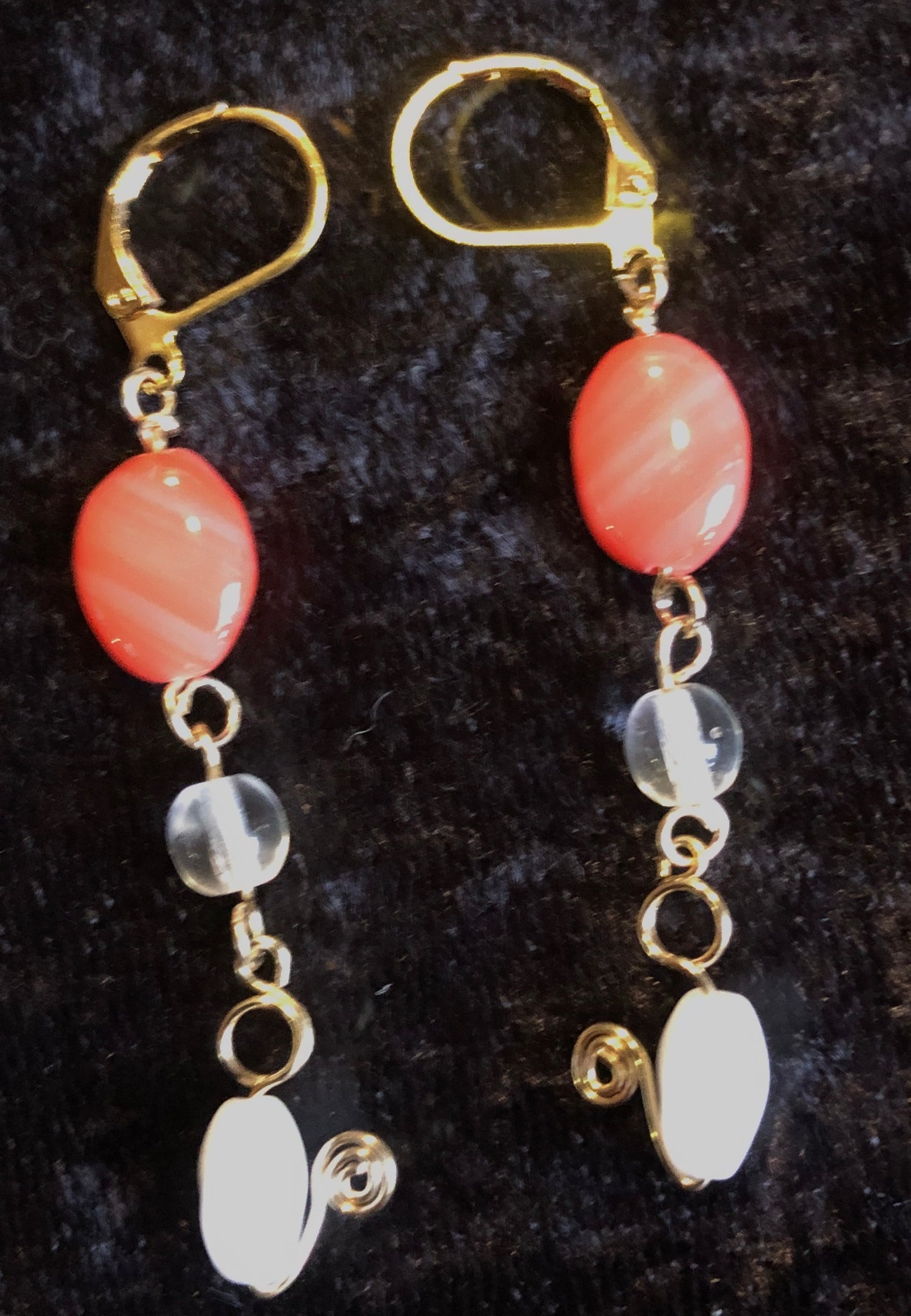 Vermeil with Peach and White Glass Leverback Earrings