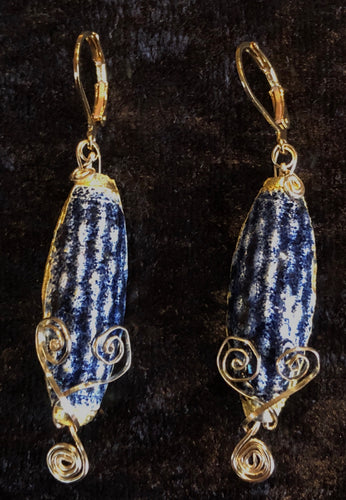 Vermeil with Antique Cloisonne Leverback Earrings