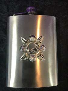 Mermaid Among Sailboats Stainless Steel Hip Flask