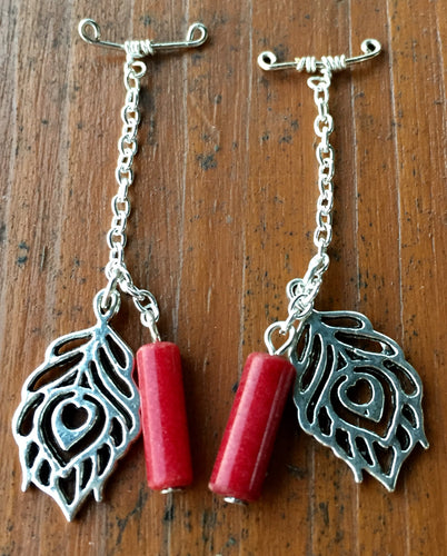 Red Jasper with Leaf Charms Gauge Drops