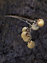 Load image into Gallery viewer, Scallops and Pearls Dangly Steel Hair Clip