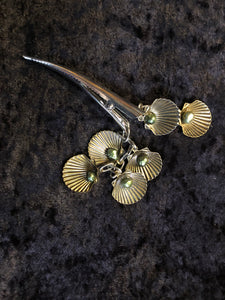 Scallops and Pearls Dangly Steel Hair Clip