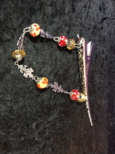 Glass Bead and Autumn Leaves Dangly Jumbo Steel Hair Clip