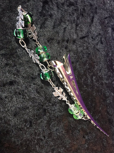 Glass Bead and Oak Leaves Dangly Jumbo Steel Hair Clip