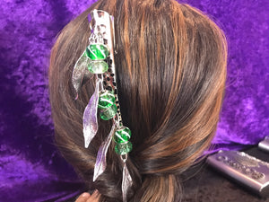 Green Glass Bead and Drop Leaves Dangly Jumbo Steel Hair Clip