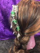 Load image into Gallery viewer, Green Glass Bead and Drop Leaves Dangly Jumbo Steel Hair Clip