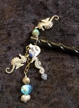 Load image into Gallery viewer, Seahorses and Blue Beads Dangly Carved Black Hair Stick