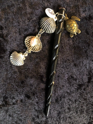 Pearls in the Seashell Dangly Wooden Hair Stick - Black