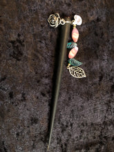 Load image into Gallery viewer, Roses and Czech Glass Leaves Dangly Wooden Hair Stick - Black