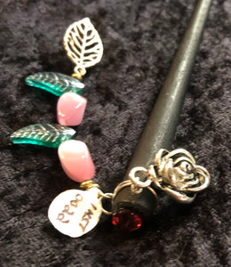 Roses and Czech Glass Leaves Dangly Wooden Hair Stick - Black