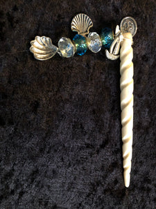 Seashells under the Sailboat Dangly White Spiral Hair Stick