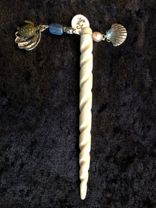 Sea Turtle with Lapis Dangly White Spiral Hair Stick