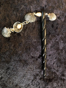 Pearls and Seashells Black Spiral Bone Hairstick