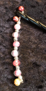 Pink Pearls Black Spiral Bone Hairstick