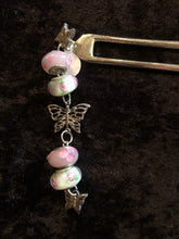 Load image into Gallery viewer, Pink Butterflies Pewter Hair Fork