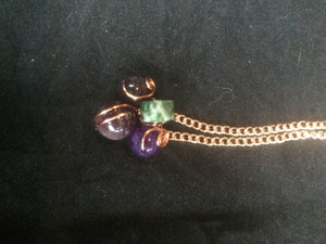 Botryoidal Amethyst and Agate Copper Wire Wrapped Necklace