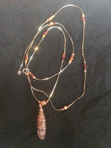 Spiral Cavatelli Copper Wire Wrapped Agate Necklace