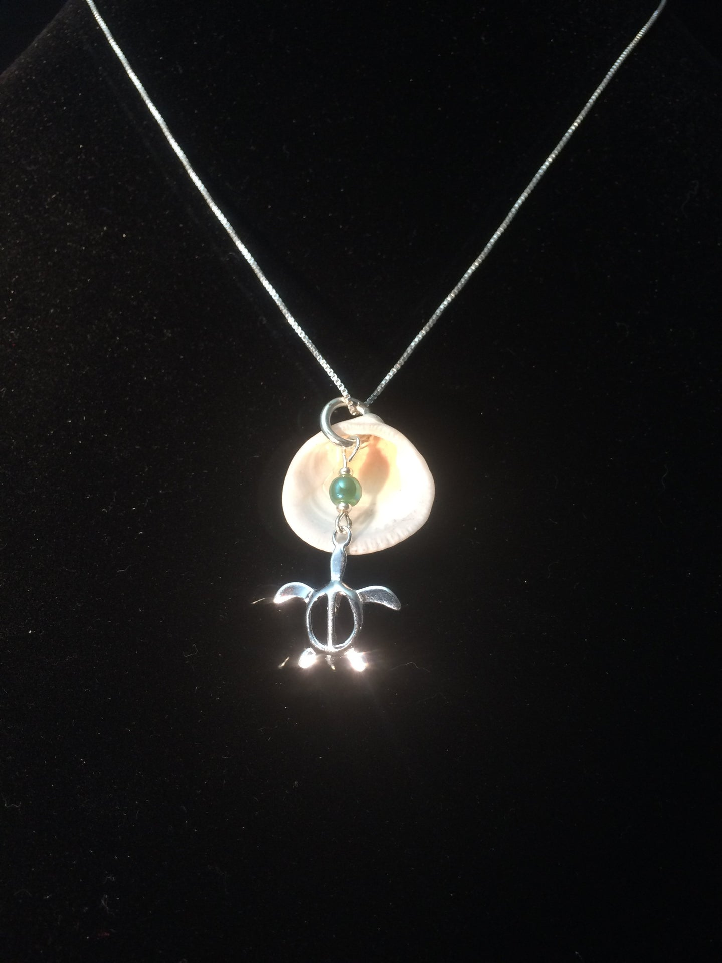 A necklace made from a sterling silver sea turtle charm along with a real clam shell background and a glass bead accent, mounted on an 18