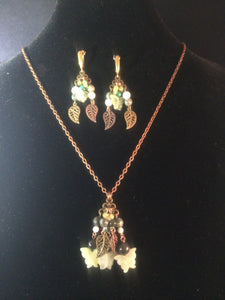 Butterflies and Leaves Chandeliers Necklace