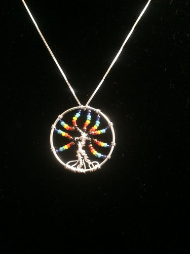Inclusive Rainbow Tree of Life Necklace