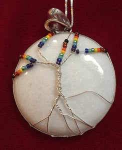 Inclusive Rainbow Tree of Life over Mountain Jade (Dolomite Marble) White