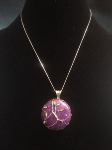 Inclusive Rainbow Tree of Life over Mountain Jade (Dolomite Marble) Purple