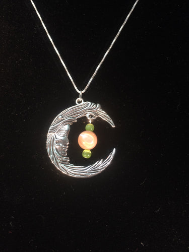 Moon and Mother of Pearl Necklace - Green