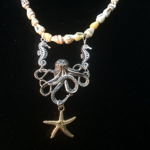 Octopus and Starfish Friends Necklace