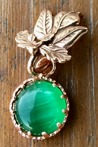 Green Chatoyant Glass and Copper Leaf Necklace