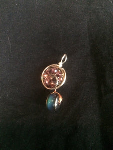 Moody Sparkly Concho Wire Wrap Pendant