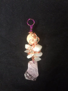 Dyed Howlite Abstract Floral Copper Wire Wrap with Chatoyant Quartz Pendant