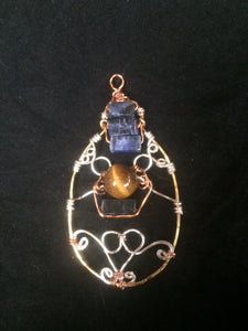 Sodalite and Tiger's Eye Multi-Metal Wire Wrap Teardrop Pendant