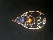 Load image into Gallery viewer, Sodalite and Tiger's Eye Multi-Metal Wire Wrap Teardrop Pendant