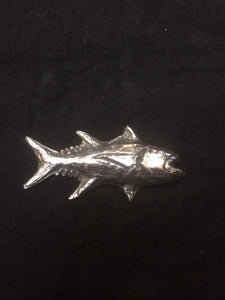 This fine silver pendant is molded to depict a specific species of trophy sportfish. Part of our custom fish portraist series, this piece shows our capability to manufacture a pendant bespoke to a specific catch. Details are taken from photographs and biological field drawings. Any fish can be portrayed--come visit our special section at https://www.kalmansoncreations.com on our independent website for more information!