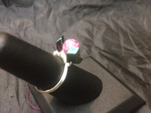 Load image into Gallery viewer, Ceramic and Hematite Sterling Silver Wire Wrap Ring